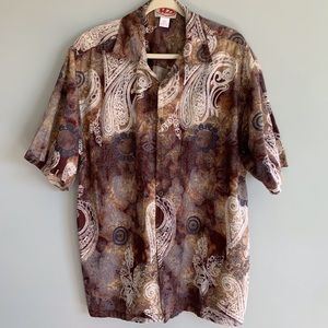 Vintage Shirt Paisley Brown Button Down Shirt Mm